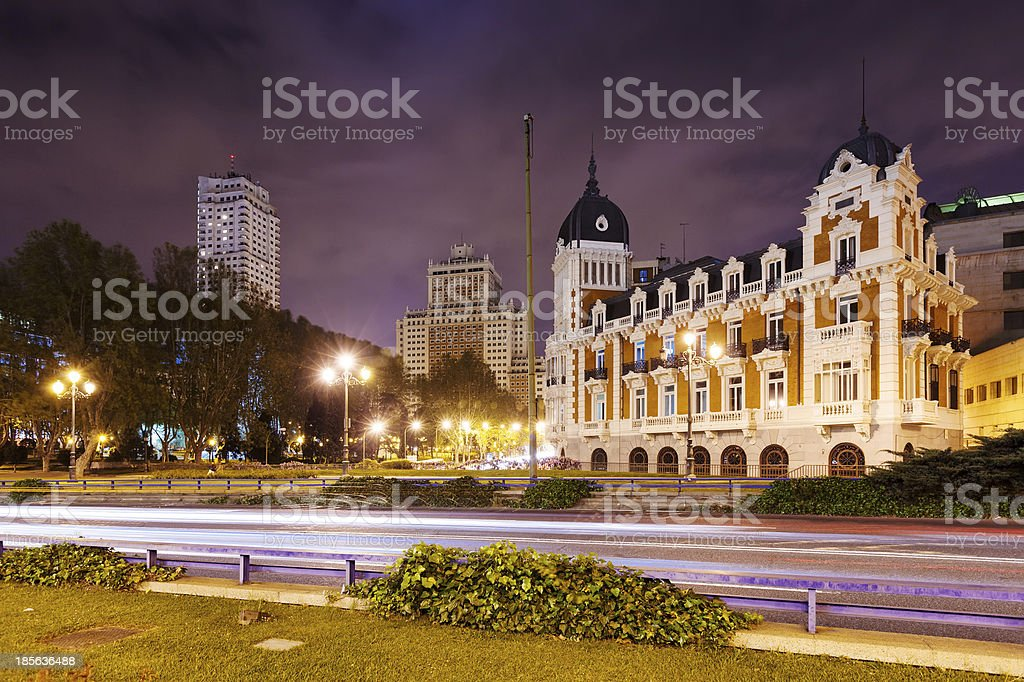 Night view of Spain Square. Madrid stock photo