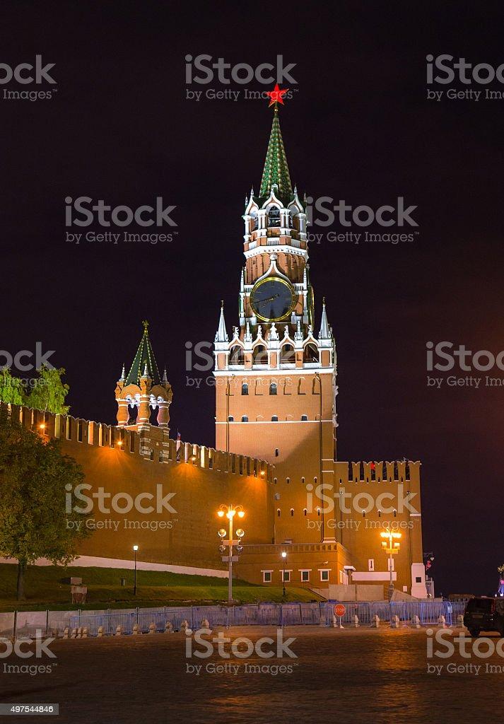 Night view of Spasskaya Tower - Moscow Kremlin stock photo