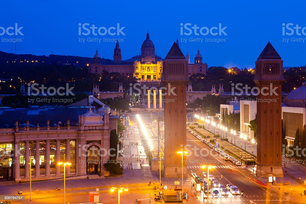 night view of Square of Spain royalty-free stock photo