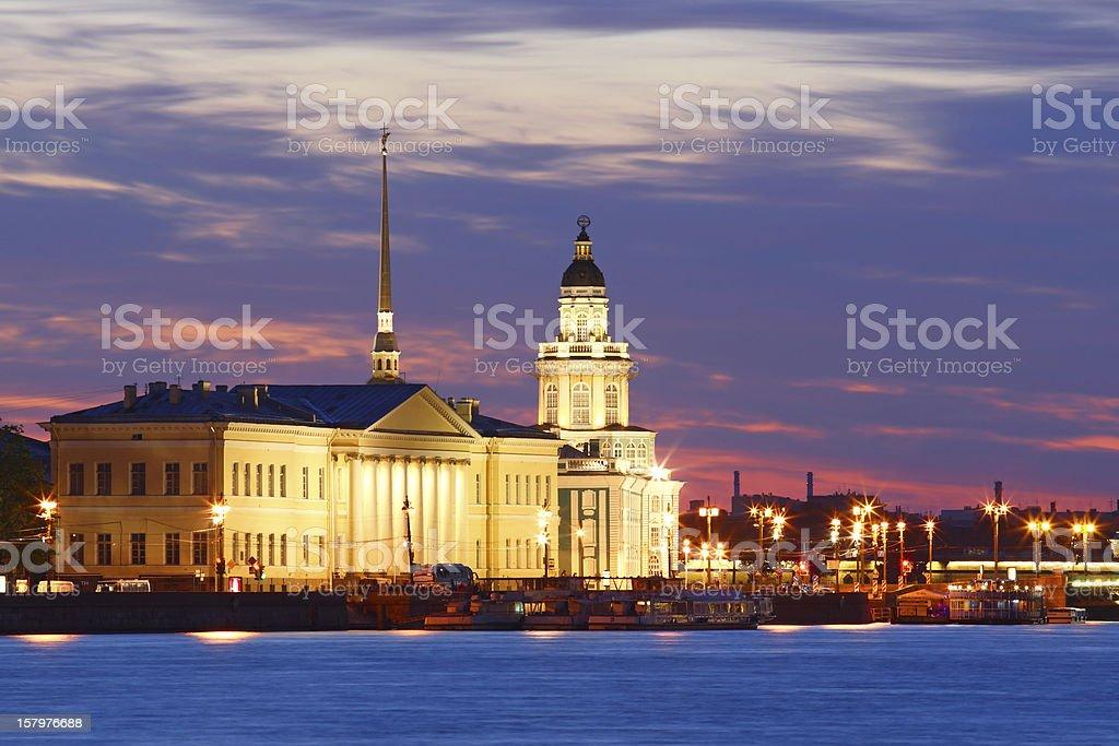 Night view of St. Petersburg stock photo