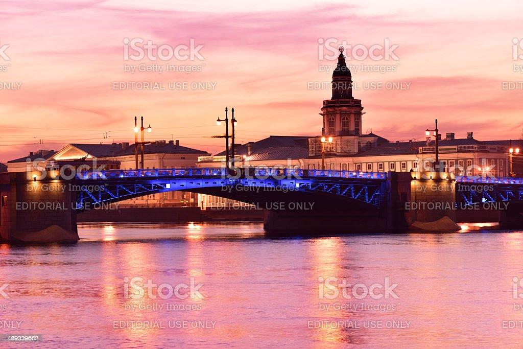 Night view of St. Petersburg, Russia stock photo
