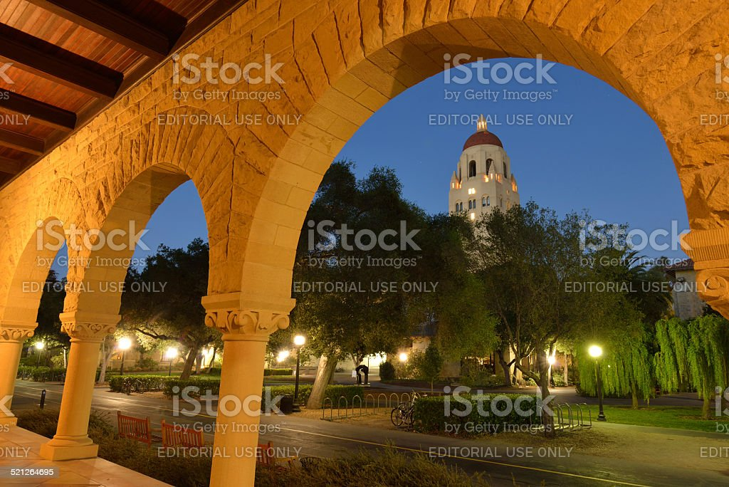 Night View of Stanford University Campus stock photo