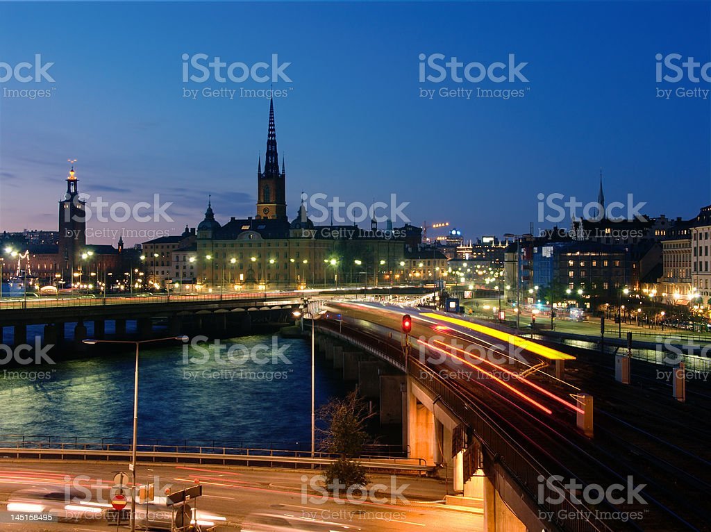 Night view of Stockholm old city stock photo