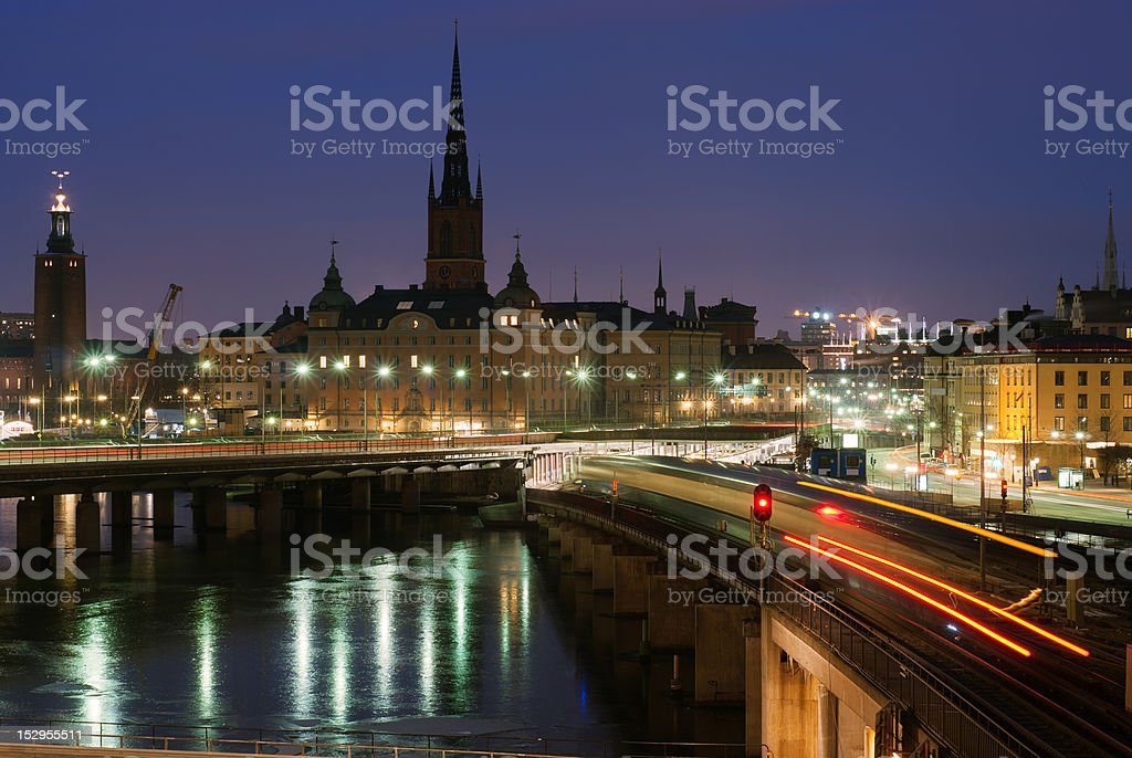 Night view of Stockholm old city royalty-free stock photo
