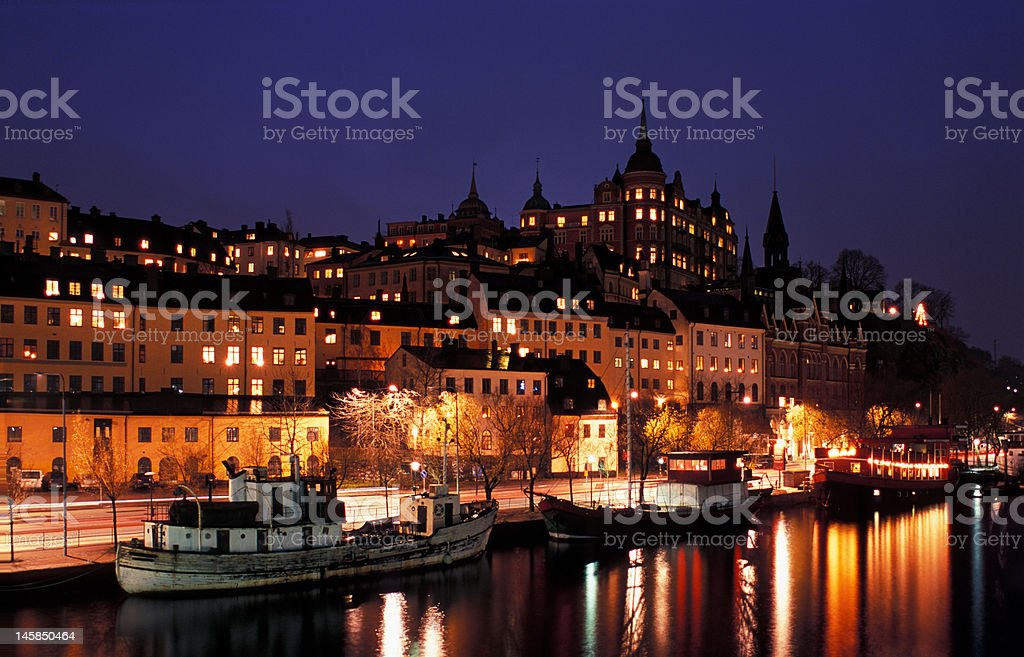 Night view of Stockholms embankment royalty-free stock photo