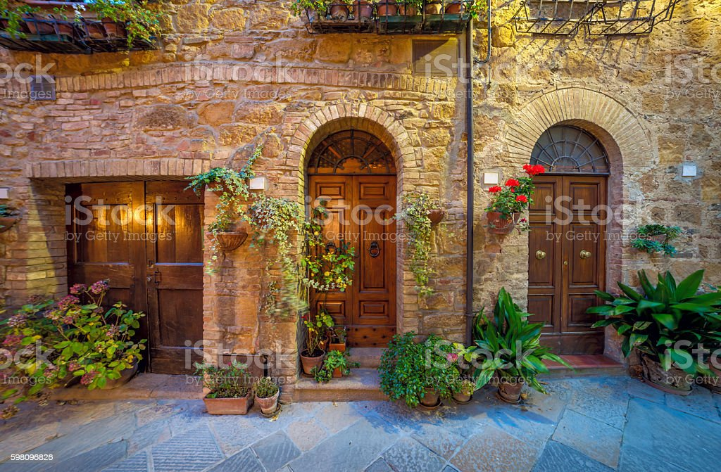 Night view of street in small mediterranean town stock photo