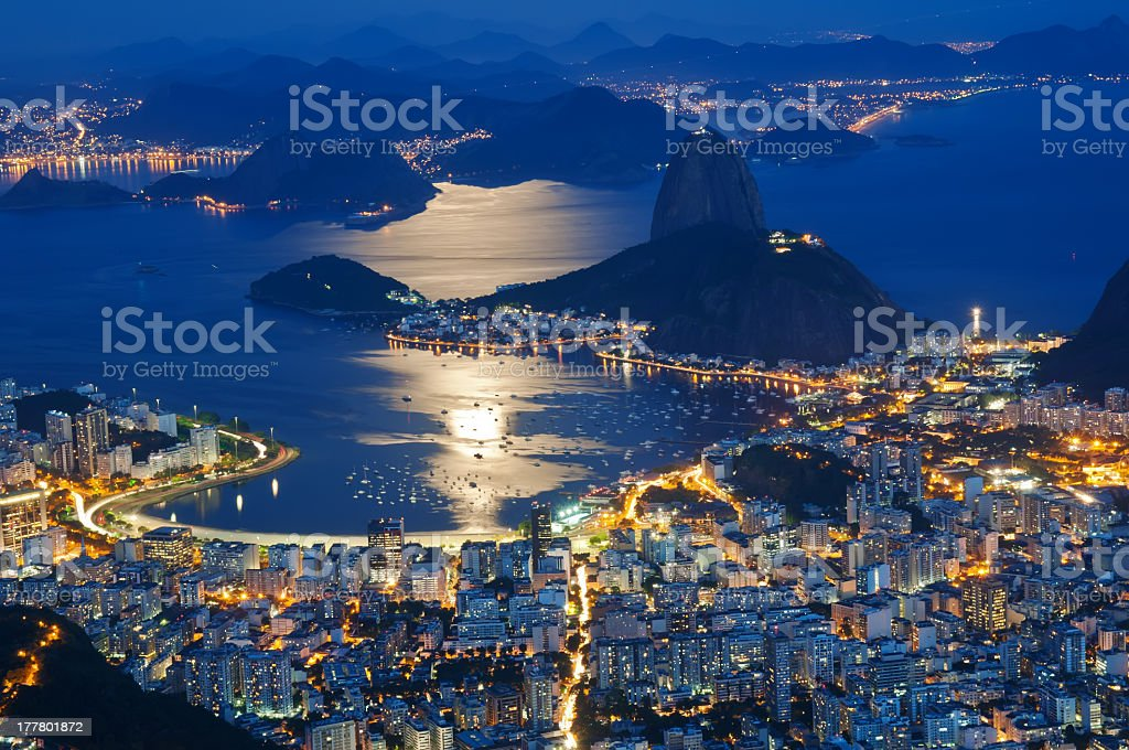 Night view of Sugarloaf and Botafogo in Rio de Janeiro royalty-free stock photo