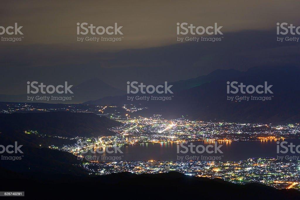 Night View of Suwa city and Mt.Fuji stock photo