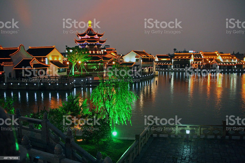 night view of  Suzhou old town, China stock photo