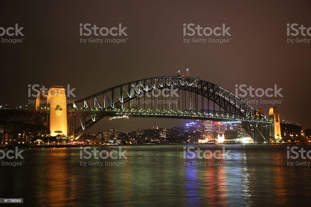 Night view of Sydney Harbour Bridge royalty-free stock photo