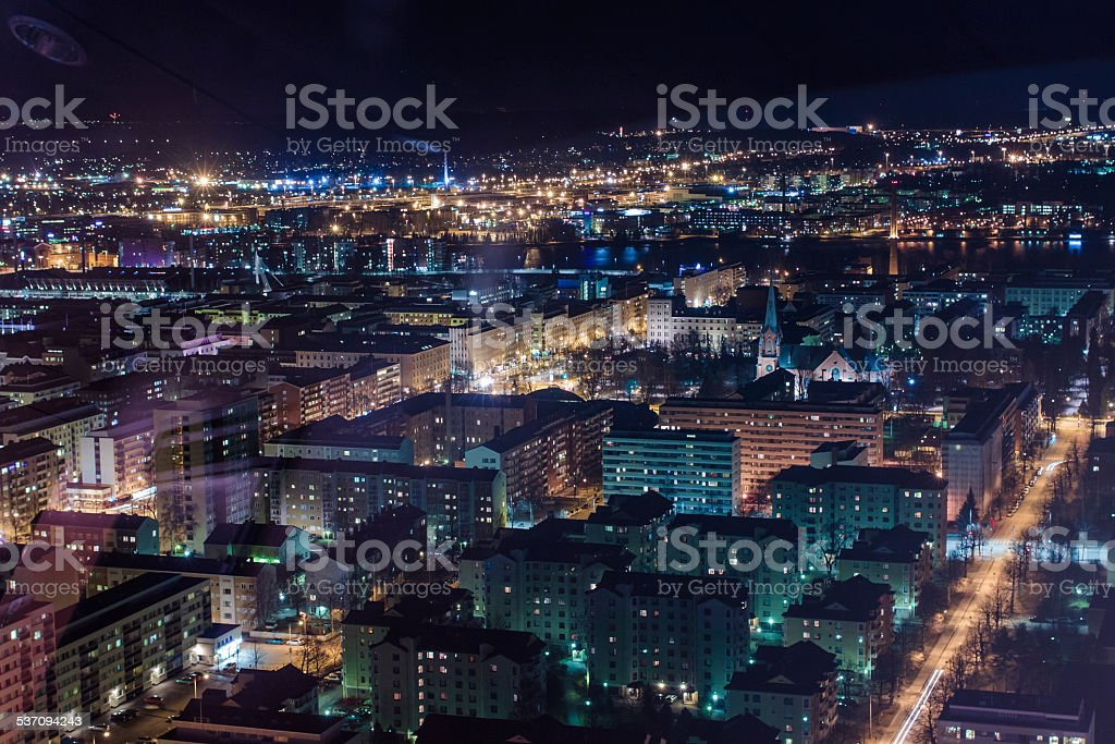 Night View Of Tampere stock photo