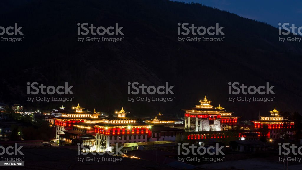 Night view of Tashichho Dzong in Bhutan stock photo