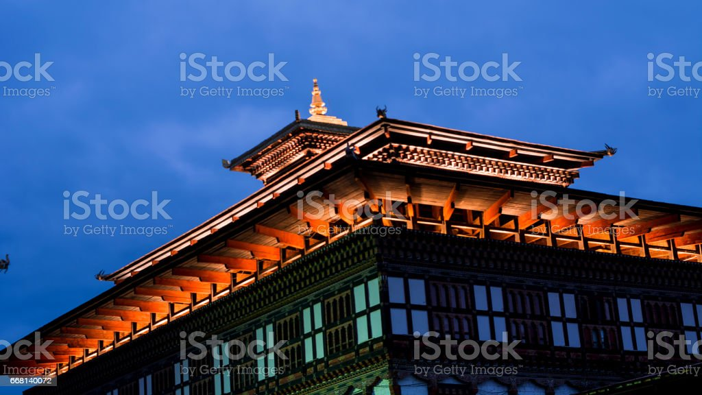 Night view of Tashichho Dzong. stock photo