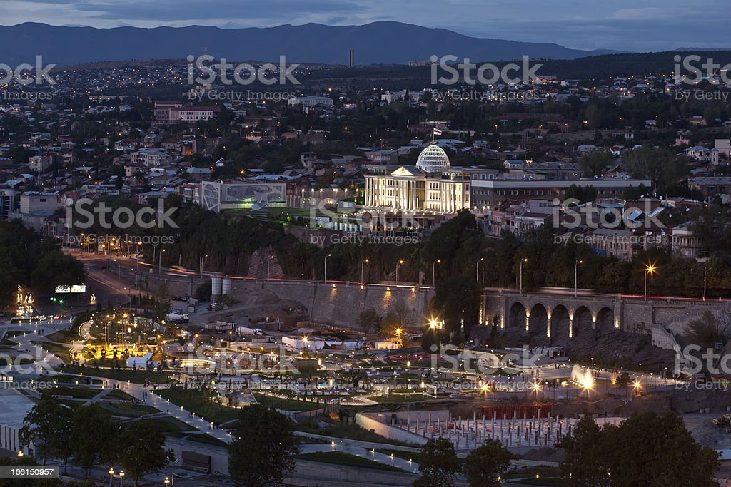 Night view of Tbilisi. royalty-free stock photo