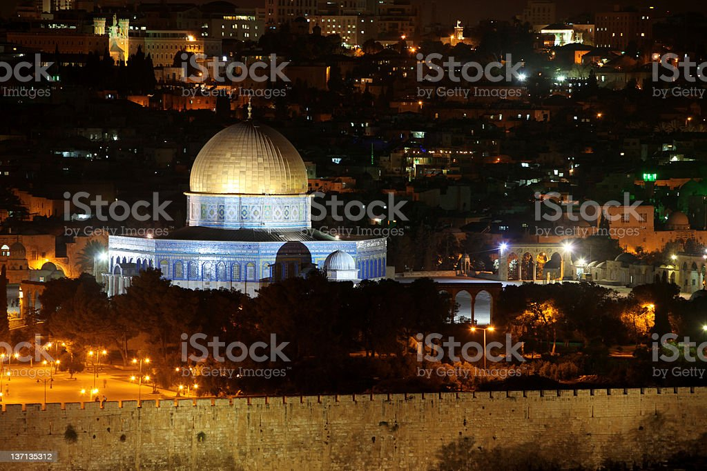 Night view of Temple Mount royalty-free stock photo