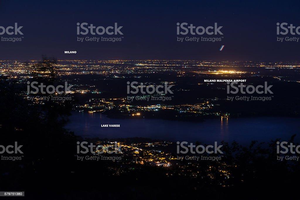 Night view of the airport of Milan Malpensa, Milan and lake Varese stock photo