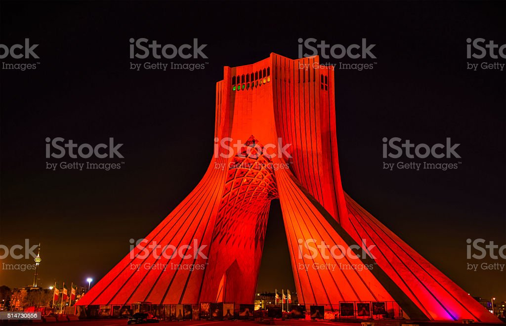 Night view of the Azadi Tower in Tehran stock photo