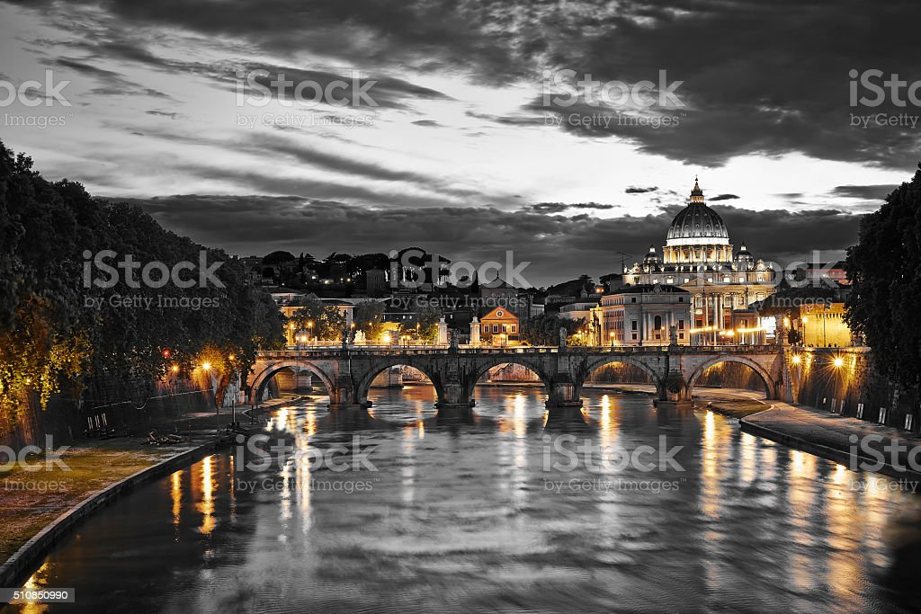 Night view of the Basilica St Peter in Rome stock photo