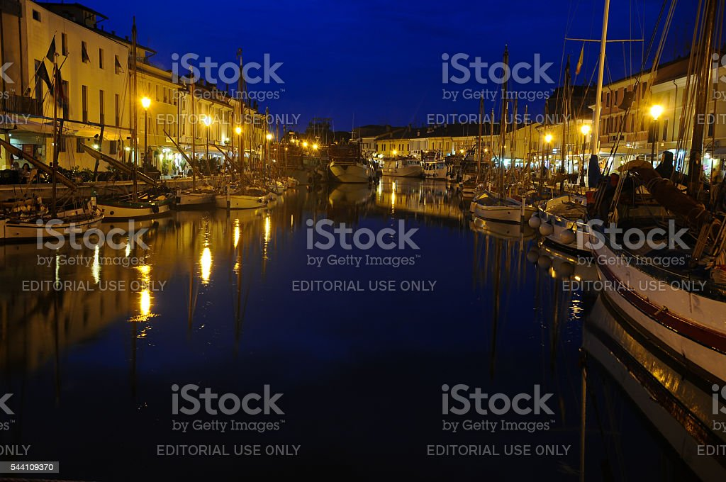 night view of the beautiful canals of cesenatico stock photo