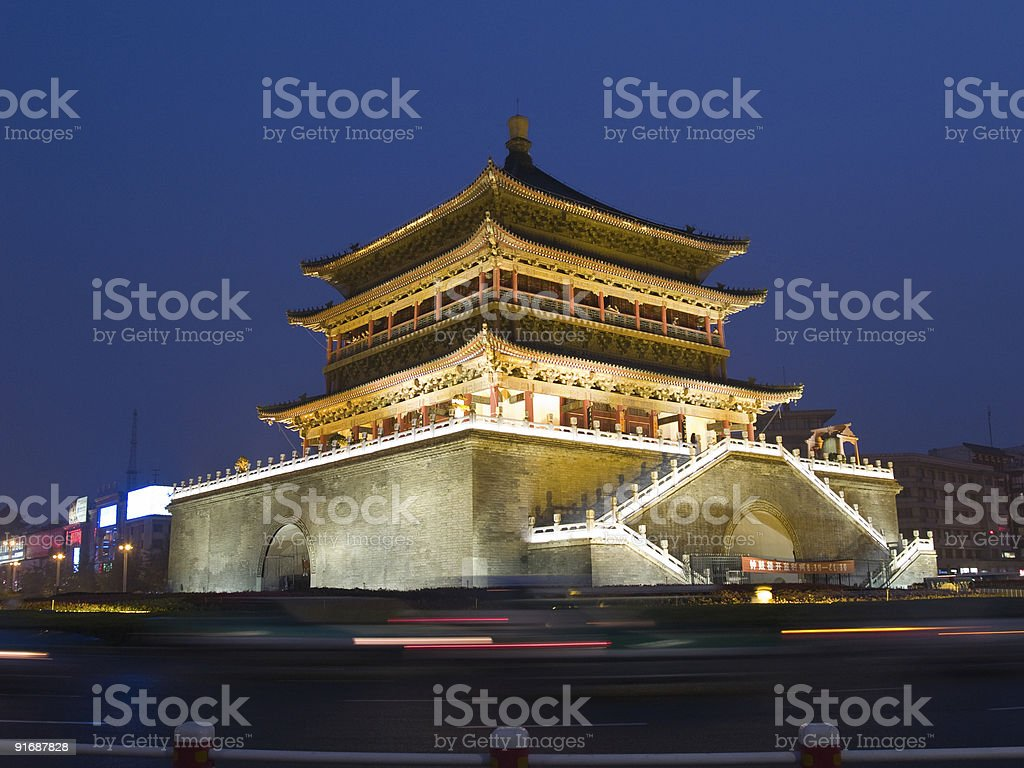Night view of the Bell Tower in Xian royalty-free stock photo