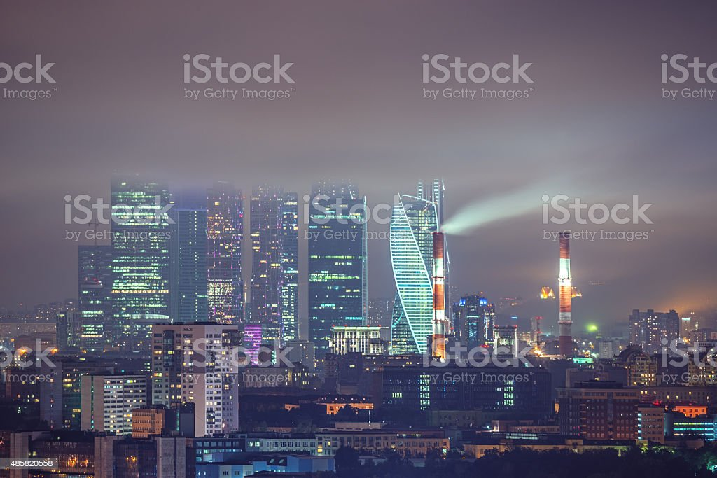 Night view of the business city center. stock photo