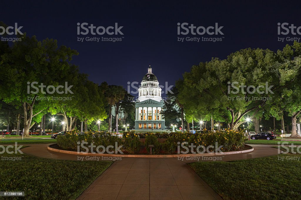 Night View of the California State Capitol Building stock photo