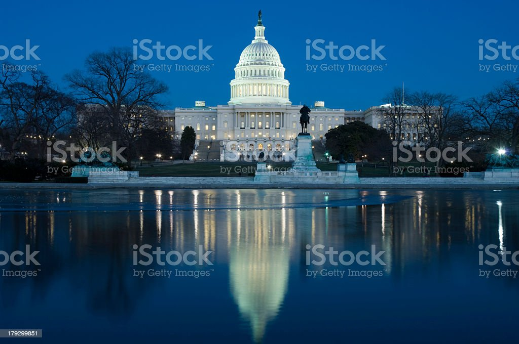 Night view of the Capitol Building and surrounding area stock photo