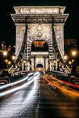 Night view of The Chain Bridge, Budapest