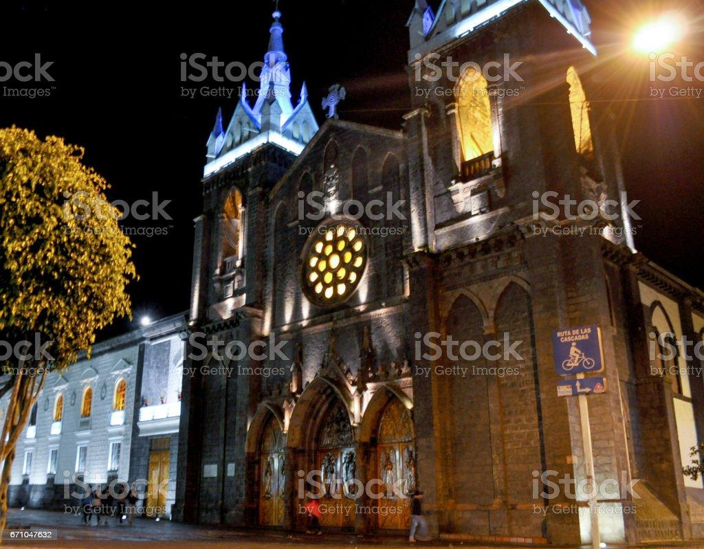 Night view of the Church of Banos de Agua Santa, Ecuador stock photo