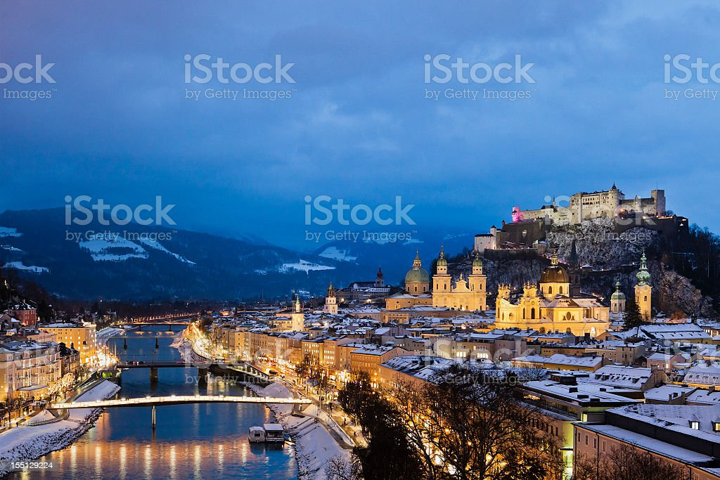 Night view of the city of Salzburg in Austria stock photo