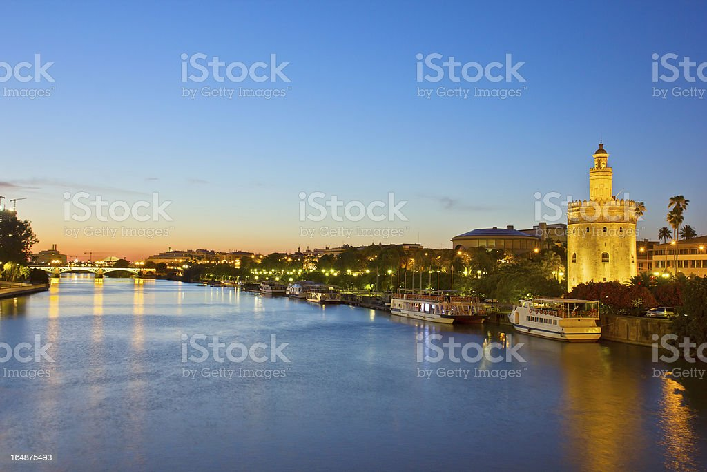 Night view of the city of Sevilla in Spain stock photo