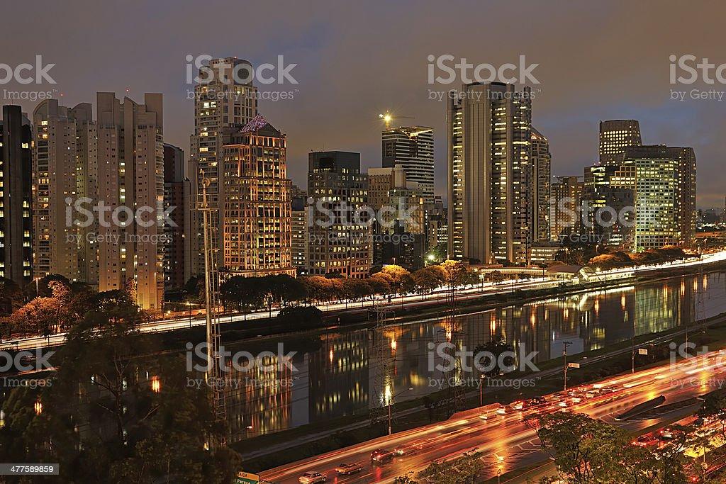 night view of the city  São Paulo Brazil stock photo