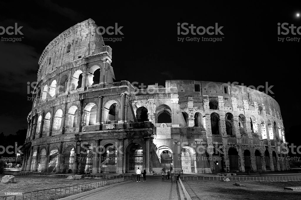 night view of the colosseum in Rome Italy royalty-free stock photo