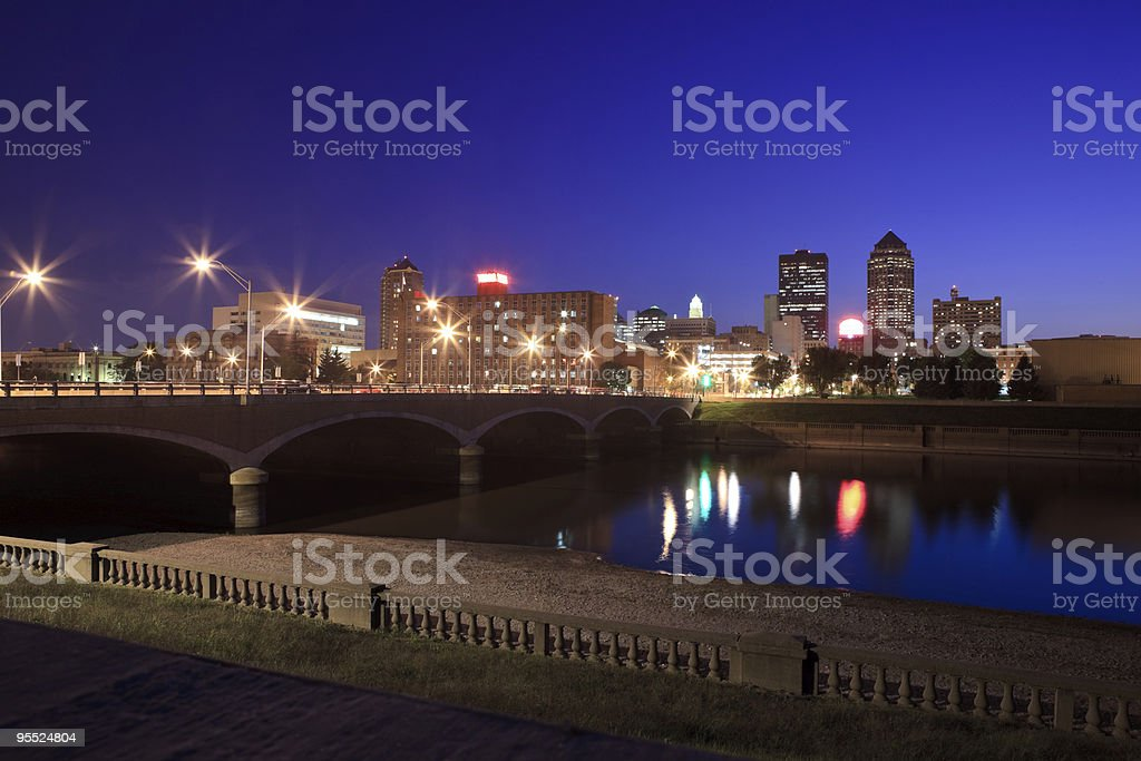 A night view of the Des Moines skyline stock photo