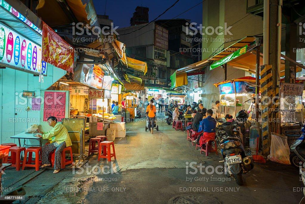 night view of the entrance of Jingmei Street Night Market stock photo