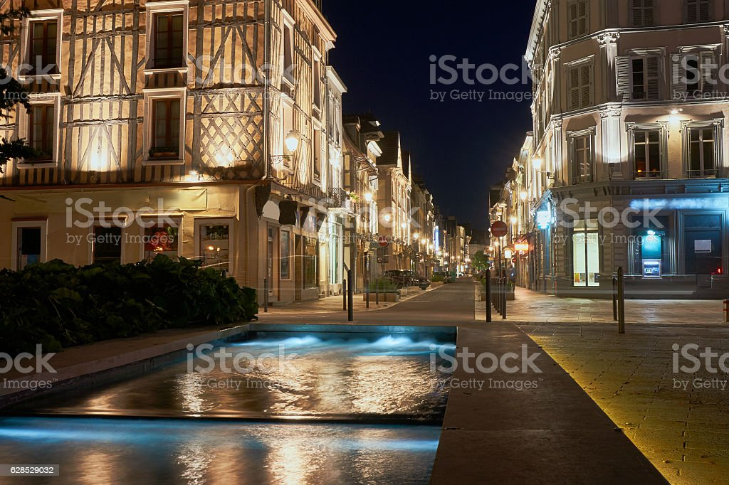 Night view of the fountain and street stock photo