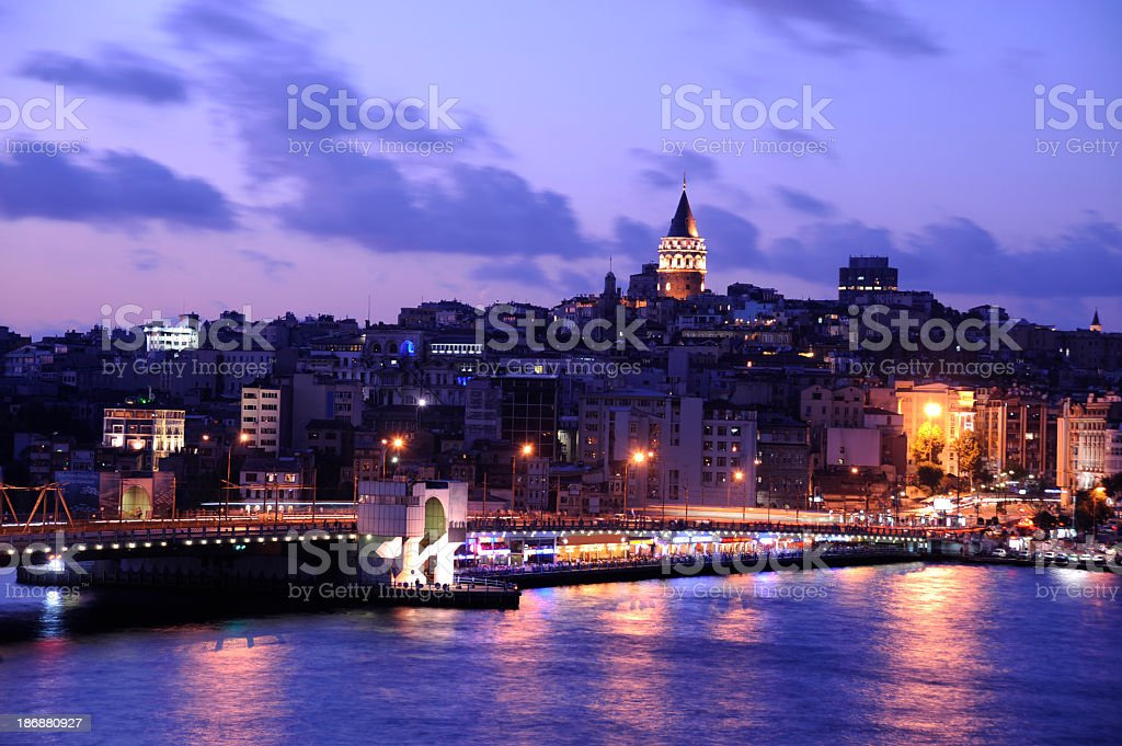 Night view of the Galata Bridge and cityscape stock photo