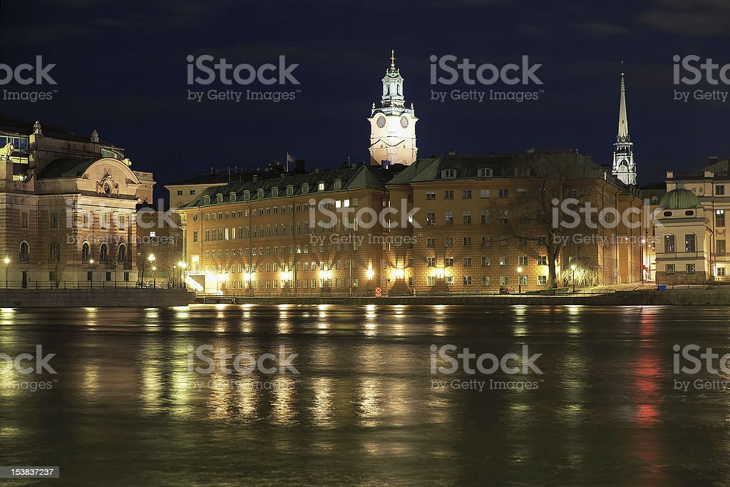 Night view of the Gamla Stan in Stockholm stock photo