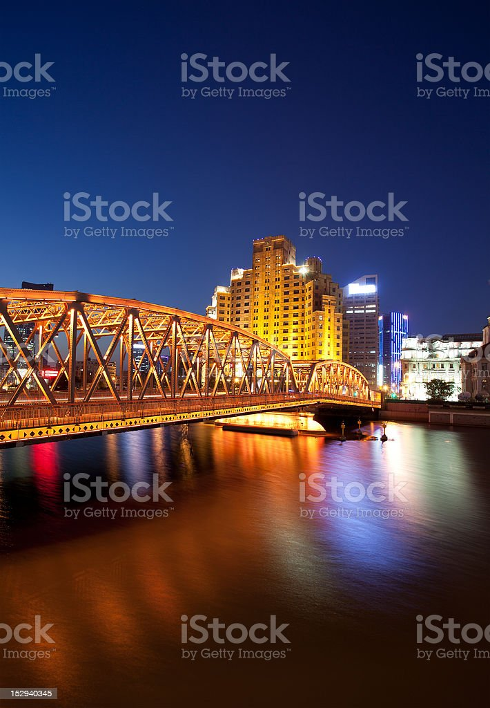 night view of the garden bridge royalty-free stock photo