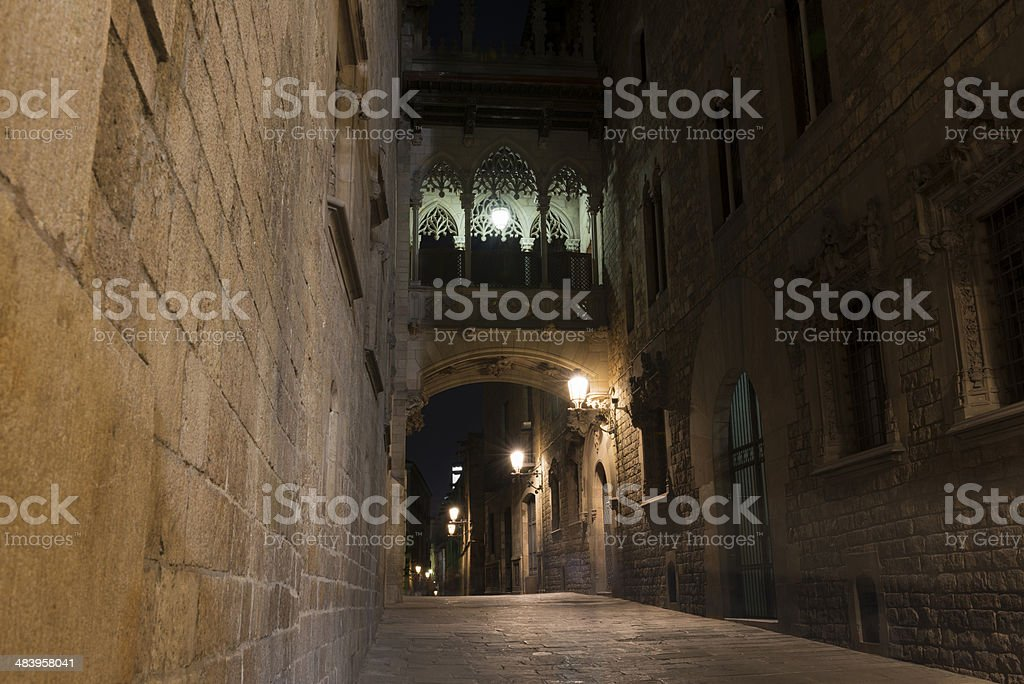 Night view of the Gothic Quarter in Barcelona stock photo