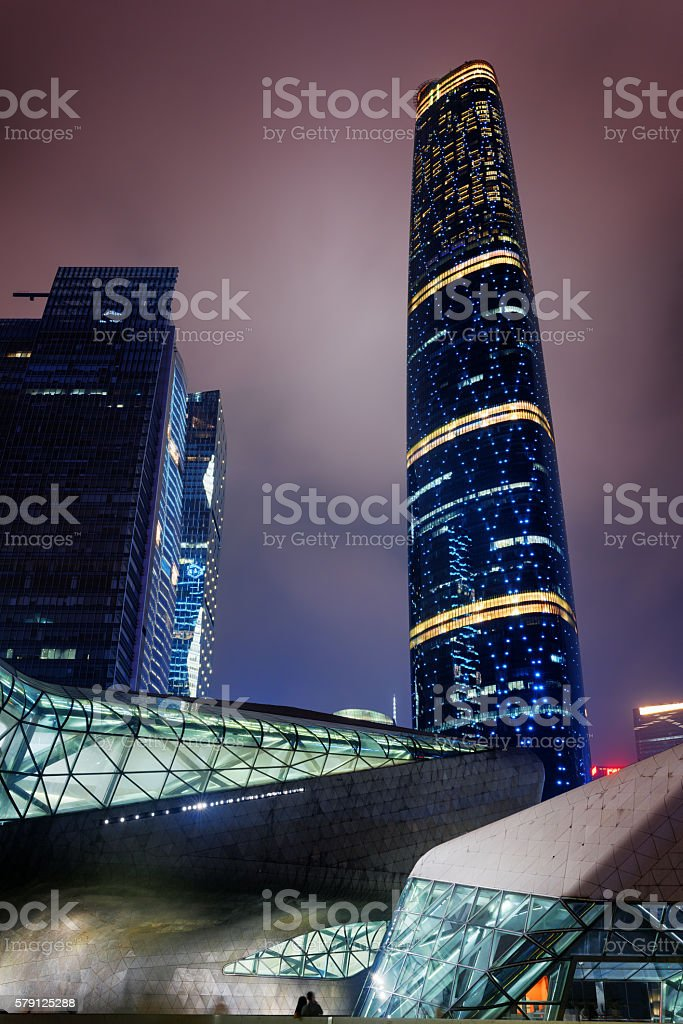 Night view of the Guangzhou International Finance Centre stock photo