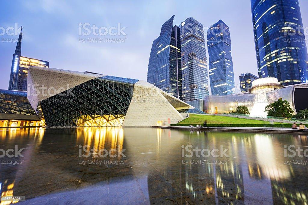 Night view of the Guangzhou Opera House stock photo