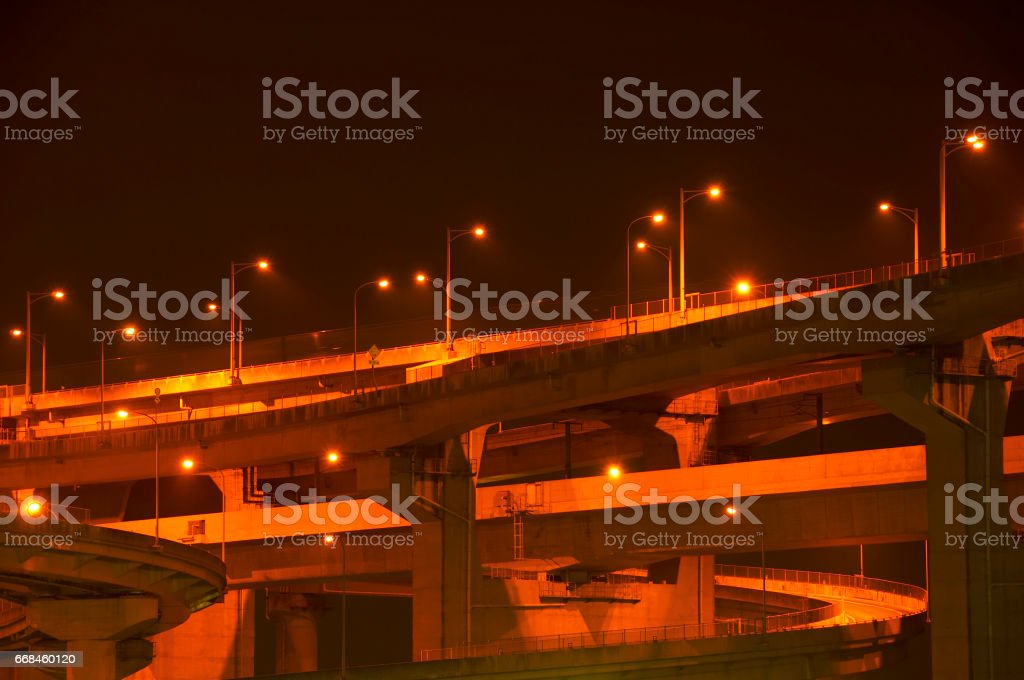 Night view of the highway stock photo