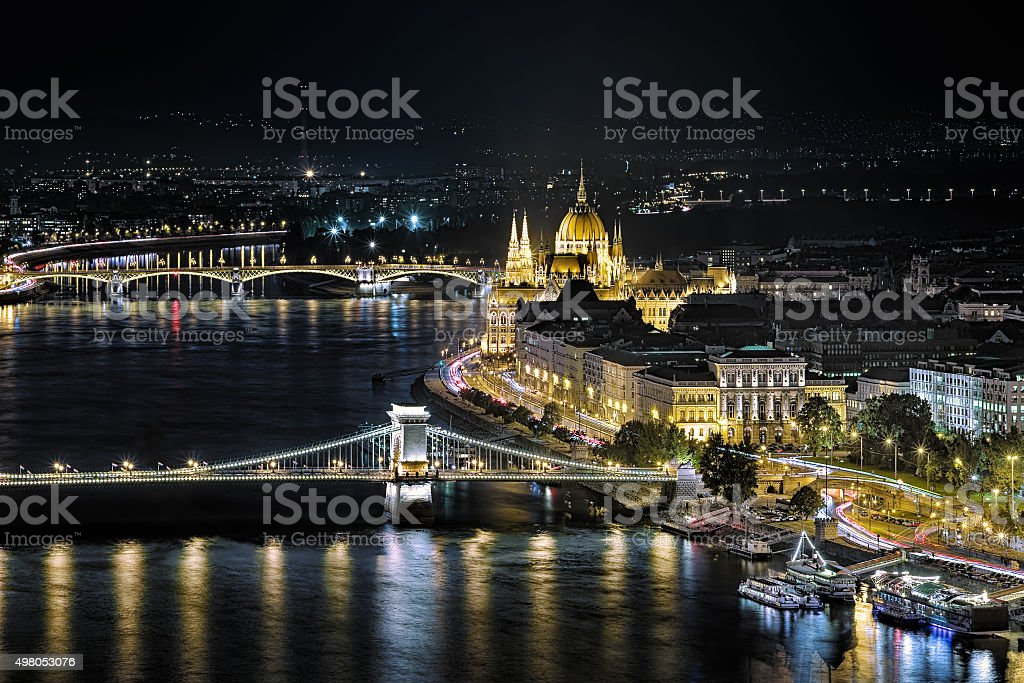 Night view of the Hungarian Parliament Building in Budapest stock photo