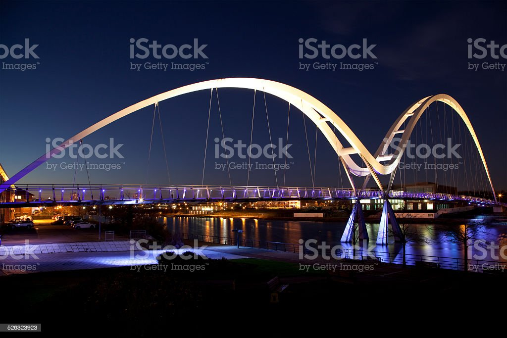 Night View of the Infinity Bridge, Stockton-on-Tees, England stock photo
