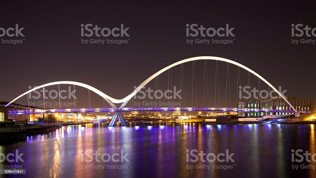 Night View of the Infinity Bridge, Stockton-on-Tees, England stock photo