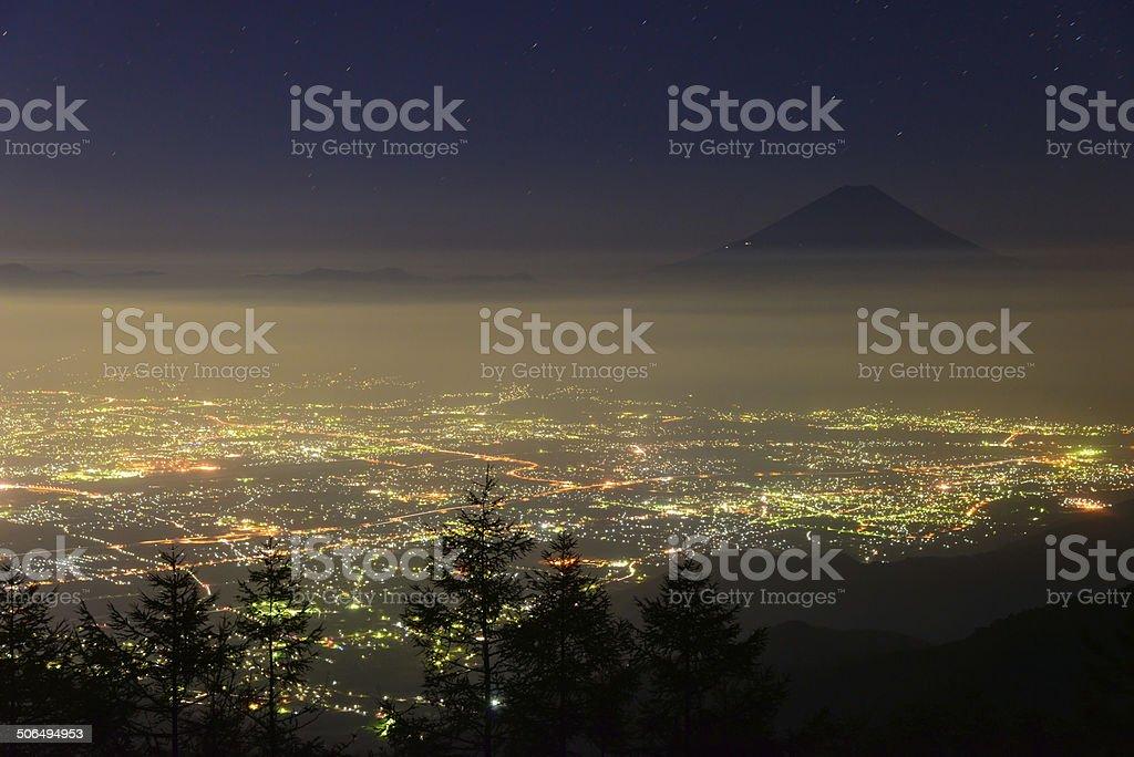 Night View of the Kofu city and Mt.Fuji stock photo