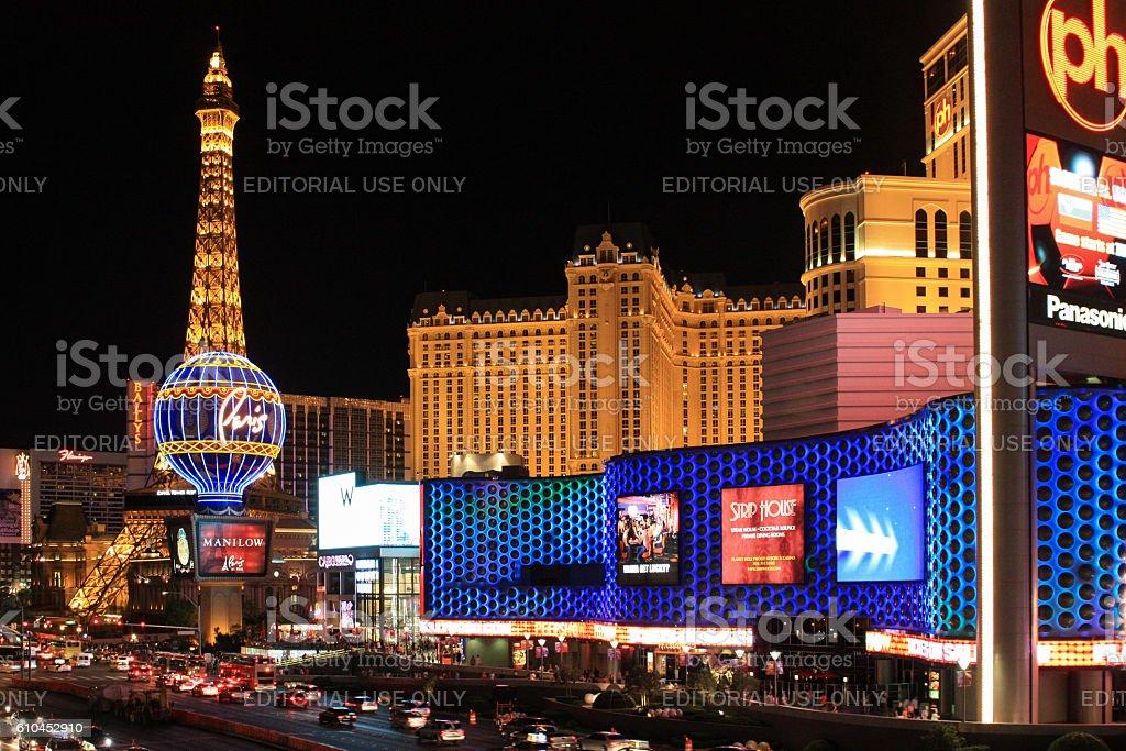 Night view of the Las Vegas city stock photo