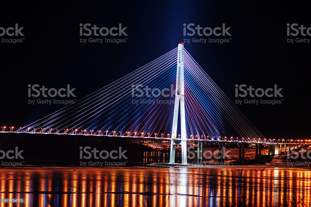 night view of the longest cable-stayed bridge in the world stock photo