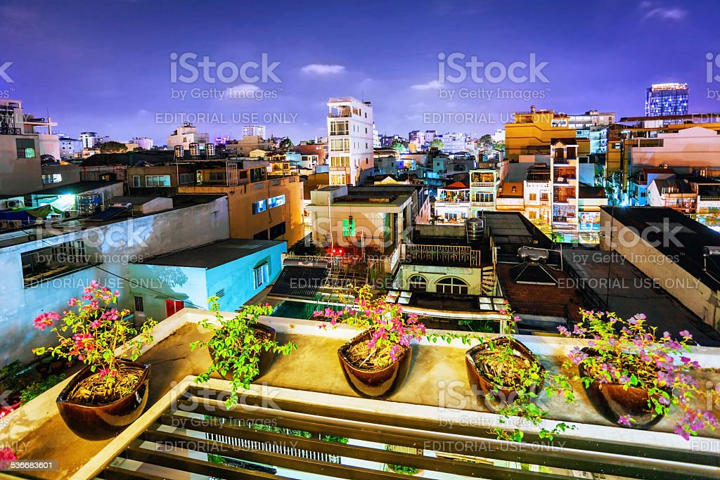 Night view of the oldest neighborhoods in Ho Chi Minh stock photo